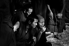 Watching Sera Monastery Debating Monks Lhasa Tibet Royalty Free Stock Photo