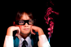 Watching smoke with 3d glasses. Stock Photos
