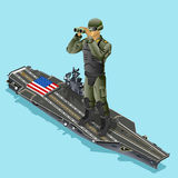 Watching soldier over aircraft carrier of American army US navy. Isometric design vector illustration Royalty Free Stock Photography