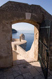 Watching spot. On Dubrovnik city wall through a gate Royalty Free Stock Photos