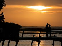 Watching A Sunset. Elder couple watching a sunset at Key West, Florida Royalty Free Stock Images
