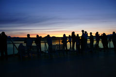 Watching the sunset Stock Images