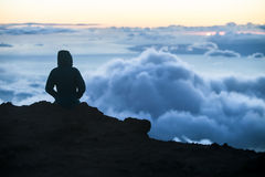 Watching Sunset Above Maui Clouds Royalty Free Stock Photography