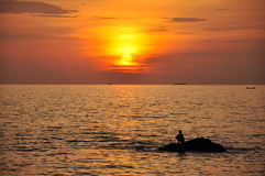 Watching sunset at Lanta Island Stock Image