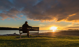 Watching Sunset Royalty Free Stock Images