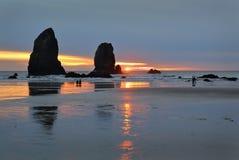 Watching Sunset, Oregon Coast, United States Stock Photos