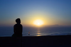 Watching the Sunset Over the Pacific in Miraflores, Lima, Peru Stock Photos