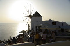 Watching the sunset on Santorini Royalty Free Stock Photography
