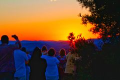 Watching the Sunset in Sedona Stock Photos