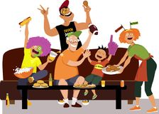 ... EPS 8 vector illustration · Watching super bowl with family. Family  watching a football game on TV 90b3f6143
