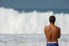 Watching surf Stock Photos