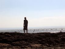 Watching the surfers. Sufing on a warm sunny evening in Devon Royalty Free Stock Photo