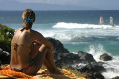 Watching the surfers in Maui Stock Images
