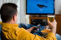 Watching television Stock Photo
