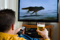 Watching television Stock Photos