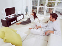 Watching television together Stock Photography