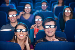 Watching three-dimensional movie. Stock Images