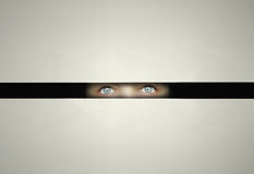 Watching throw a slit. Conceptual eyes watching throw a slit with curiosity in the darkness Stock Images