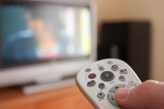 Watching TV stock images