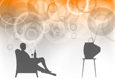 Watching tv. On the background Royalty Free Stock Images