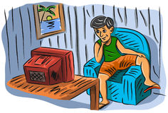Watching tv. Illustration of cartoon man watching television Royalty Free Stock Images