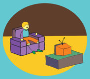 Watching TV Stock Image