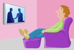 Watching TV - The Major Leisure Activity In The US Stock Photos