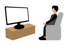 Watching tv. Man watching television on white background royalty free illustration