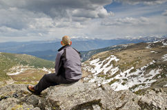 Watching the views from the top Stock Photography