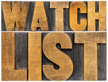 Watchlist word typography in wood type Royalty Free Stock Photos