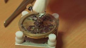 Watchmaker βάζει cogwheel στο μηχανισμό επαναληπτών απόθεμα βίντεο