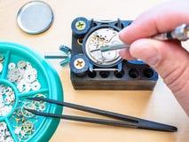 Watchmaker επισκευάζει το μηχανικό ρολόι από το κατσαβίδι στοκ εικόνα