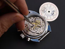 Watchmaker. Close up of watchmaker adjusting watch Royalty Free Stock Image