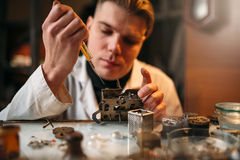 Watchmaker oil lubricates the mechanism of clock Stock Images
