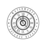 Watchmaker repair service logo monochrome vintage emblem vector Illustration on a white background. Watchmaker repair service logo monochrome vintage emblem Royalty Free Stock Photos