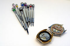 Watchmaker screwdriver. A view with a watchmaker screwdrivers set Stock Photography