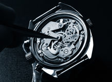 Watchmaker. Working on watch close up detail Stock Photo