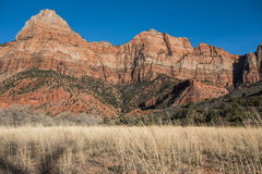 The Watchman and Dry Grass Stock Image