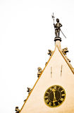 Watchman figure and historic clock on the town hall - isolated Royalty Free Stock Photo