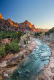 The watchman iconic scene sunset, Zion National Park, Utah. Beautiful iconic scene of The watchman at sunset, Zion National Park, Utah Stock Photo