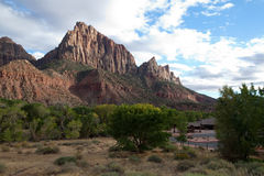 Watchman Peak at Sunset. The Watchman mountain in Zion National Park, Utah, United States at sunset in autumn with clouds in the sky Royalty Free Stock Image