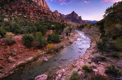 Watchman Peak and Virgin River in the Evening Royalty Free Stock Image
