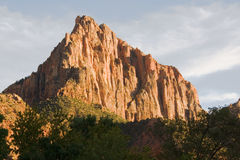 Watchman Rock Formation. Formed by water erosion formed by the Virgin River n Zion National Park Utah Stock Image