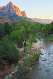 The Watchman and Virgin River from the Canyon Junction Bridge, Zion National Park, Utah, USA Royalty Free Stock Image