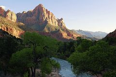 Watchman at Zion from the Bridge. Classic view of the Watchman taken from the Bridge at Zion National Park stock photo