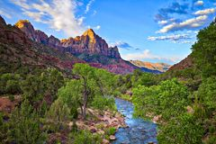 Watchman. In Zion National Park catching day`s first rays Royalty Free Stock Images