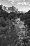 The Watchman, Zion National Park. Monochrome shot of the Watchman at Zion National Park Royalty Free Stock Photography