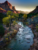 The Watchman, Zion National Park, Utah. A sunset view of `The Watchman`, dramatic colorful scenery in the canyon at Zion National Park, along the Virgin River,in Royalty Free Stock Images