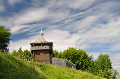 Watchtower. Modern reconstruction of the watchtower and wooden ramparts of the fortress royalty free stock photo