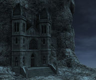 Watchtower. 3D rendered watchtower on the rock in night Stock Photo